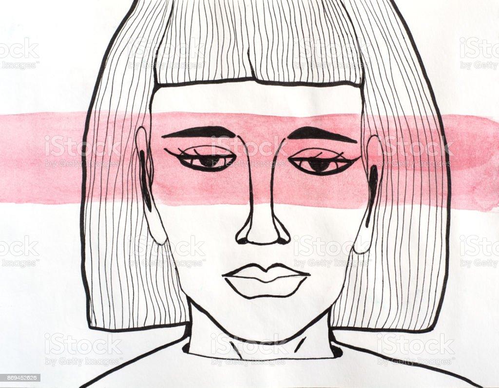 Red watercolor stripe vector art illustration