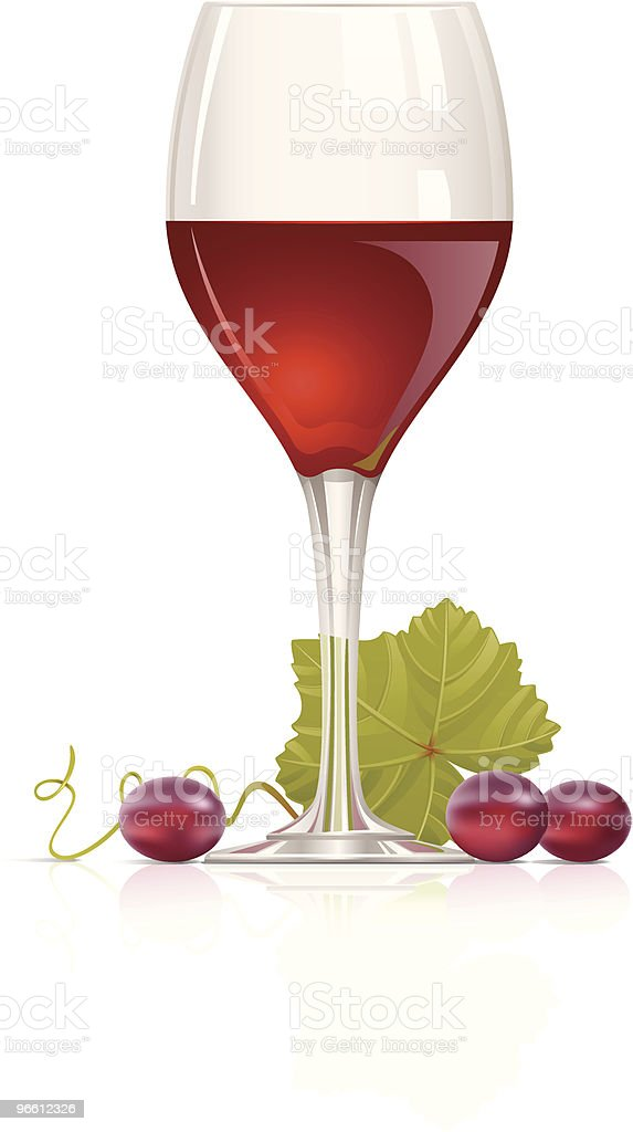 Red wine and grape - Royaltyfri Alkohol vektorgrafik