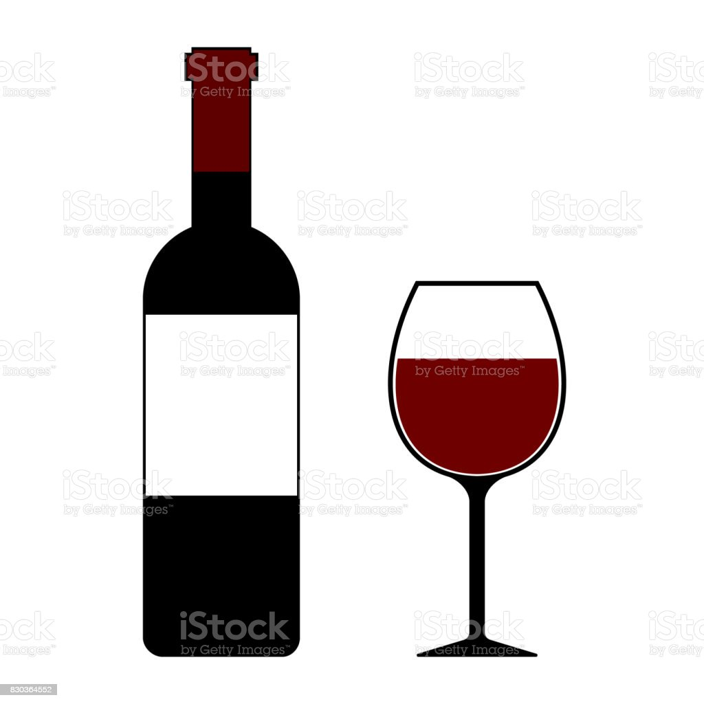 Red Wine Bottle and Glass Isolated Illustration vector art illustration