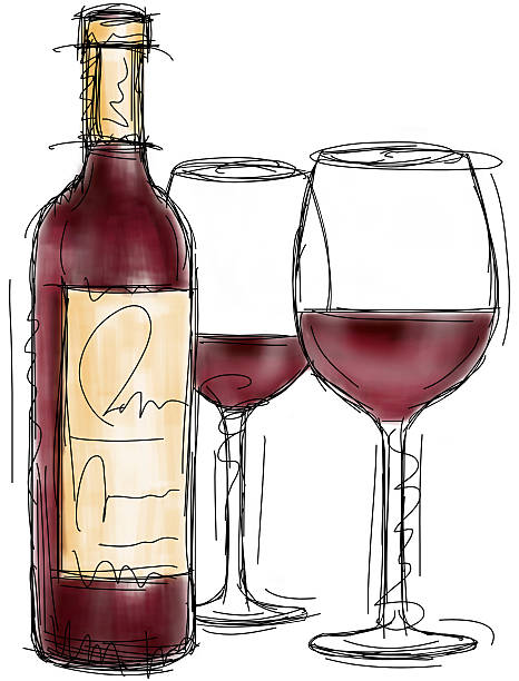 Red wine bottle and glasses A sketchy, red wine bottle with two full wine glasses. RETROROCKET stock illustrations