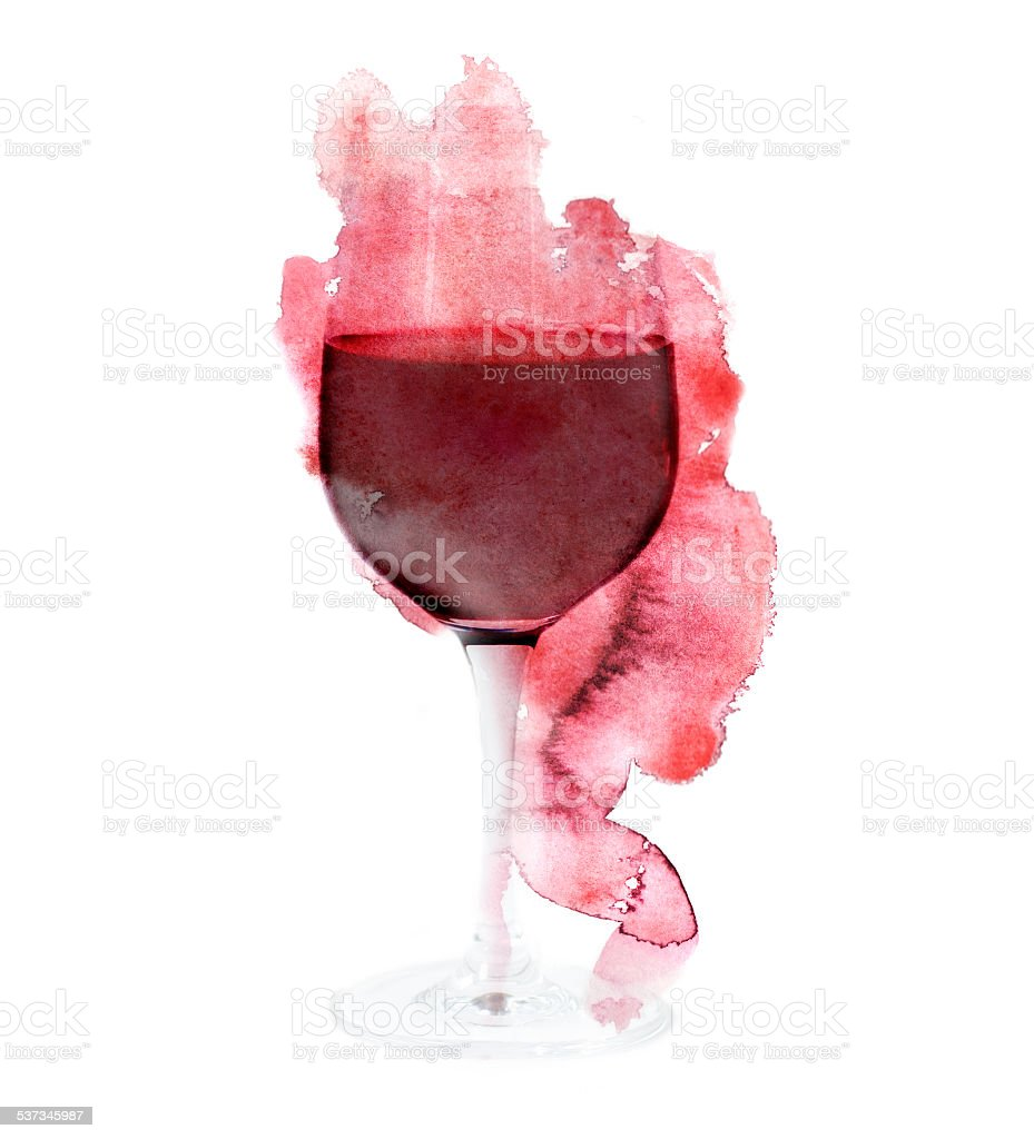 Red wine collage on white background vector art illustration