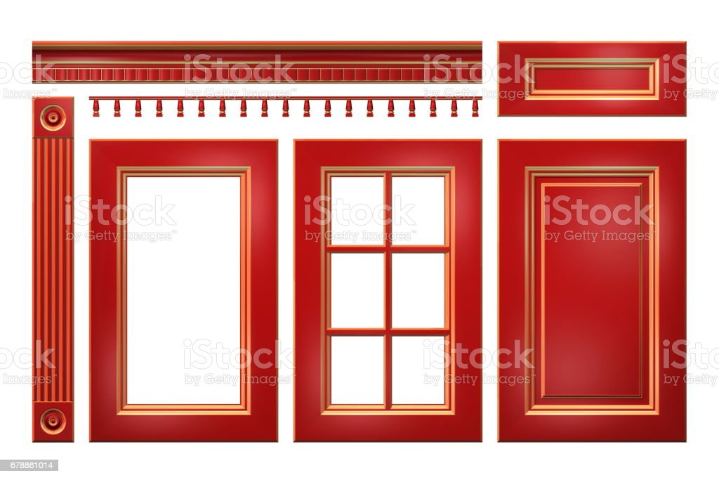 Red with gold door, drawer, column, cornice for kitchen cabinet isolated on white red with gold door drawer column cornice for kitchen cabinet isolated on white – cliparts vectoriels et plus d'images de antiquités libre de droits