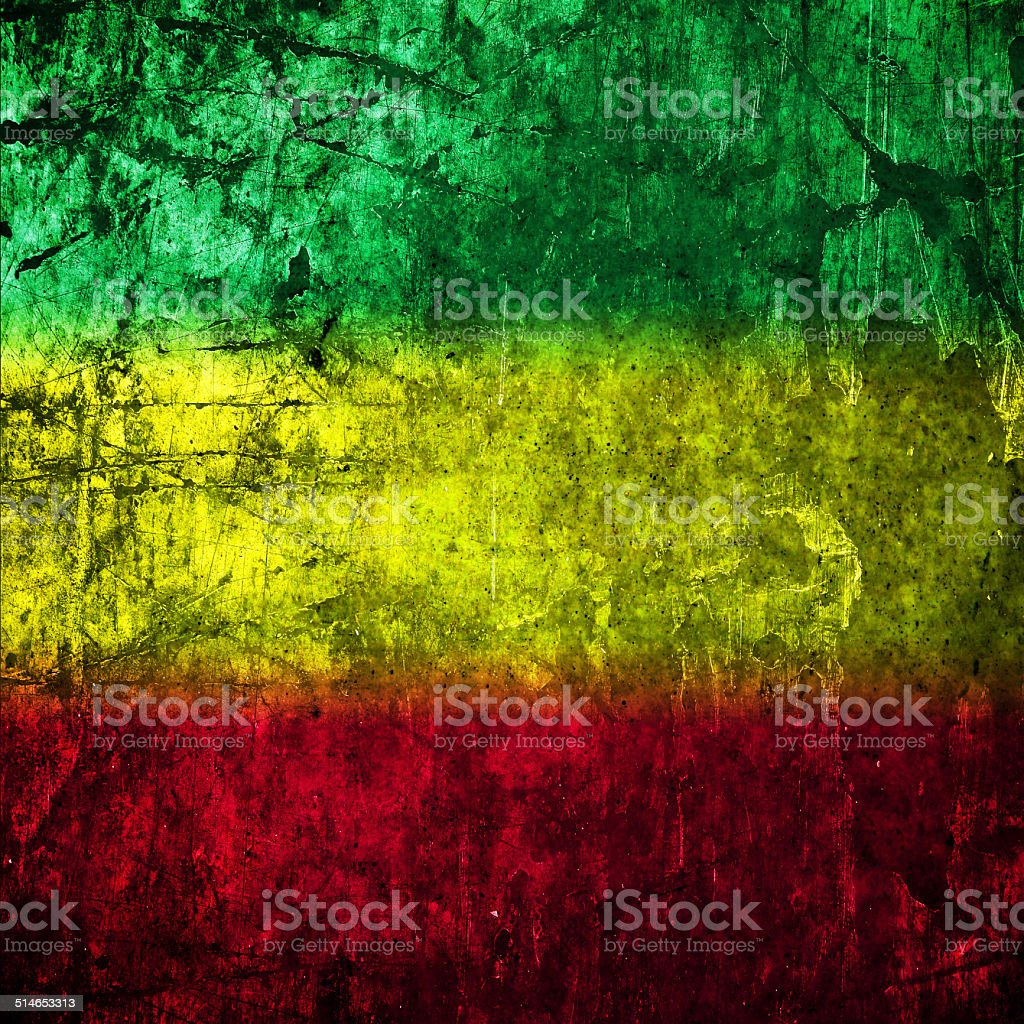 Red Yellow Green Rasta Flag On Concrete Wall Stock Vector Art & More ...