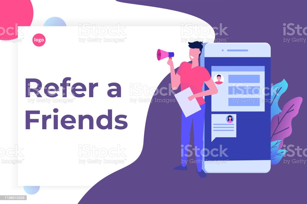 Refer A Friend Shout On Megaphone Flat Style Concept Sharing