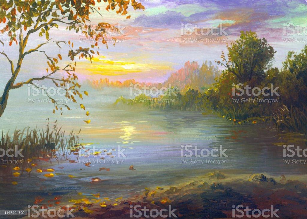 Reflet Du Coucher Du Soleil Dans La Riviere Un Soir Dautomne Chaud Peinture Vecteurs Libres De Droits Et Plus D Images Vectorielles De Abstrait Istock