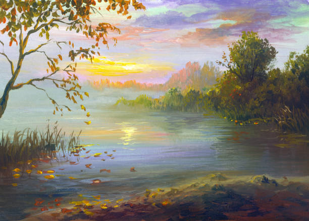 reflection of sunset in the river on a warm autumn evening, painting autumn landscape in oil painting impressionism stock illustrations