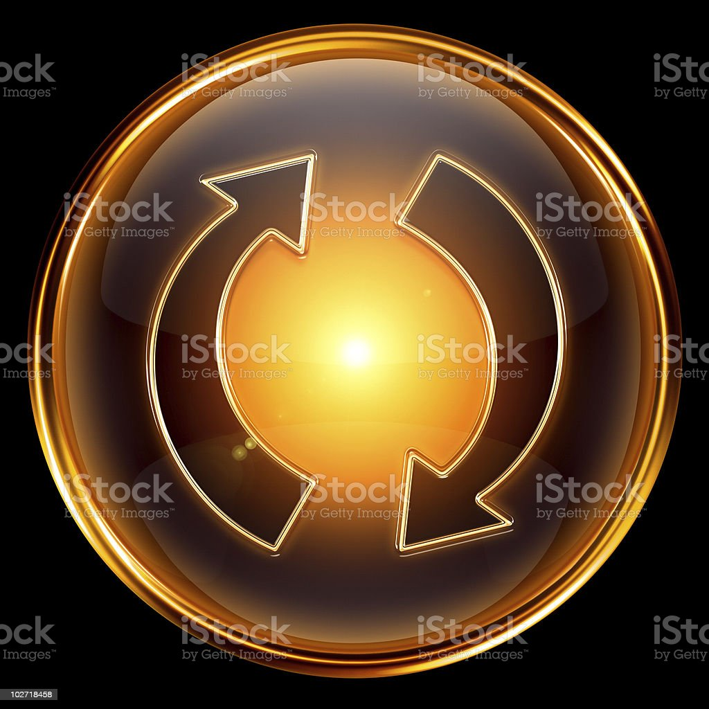 refresh icon golden, isolated on black background royalty-free stock vector art