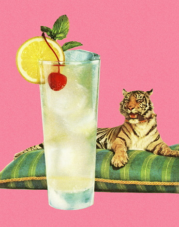 Refreshing Beverage and a Tiger on a Pillow