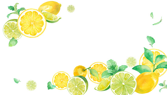 A refreshing watercolor illustration of citrus and mint. Frame design with two corners decorated. Banner background. Lemon and lime.