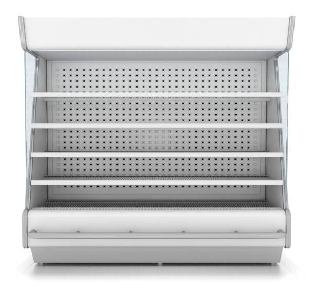Refrigerator showcase for supermarket Showcase of a refrigerator for a supermarket with empty shelves. 3d image isolated on white retail equipment stock illustrations