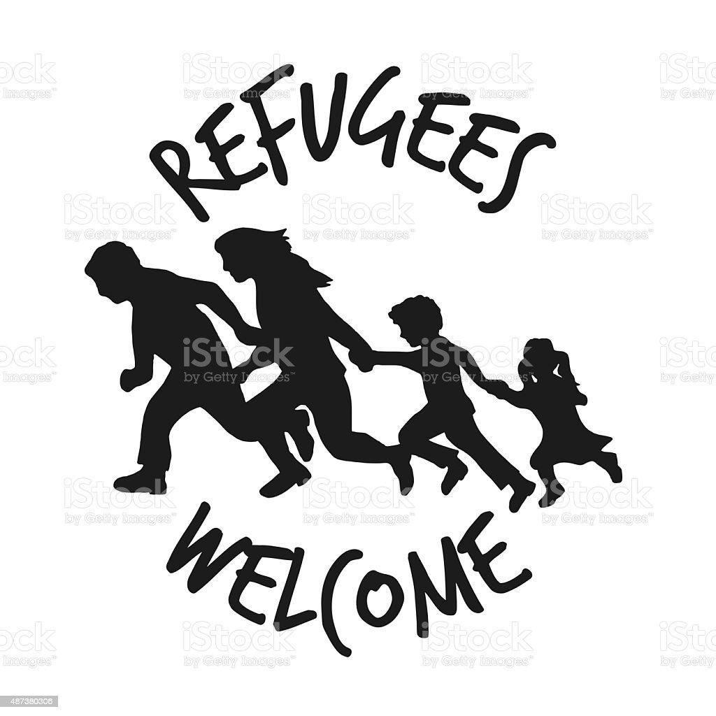 Refugees welcome vector art illustration