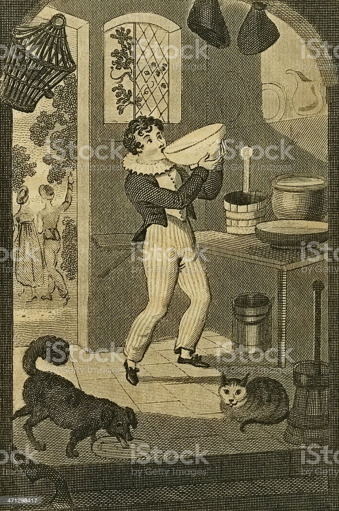 Regency boy greedily stealing a bowl of cream (c1830 engraving) royalty-free stock vector art