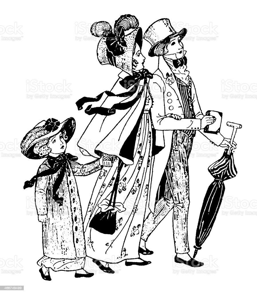 Regency era family walking to church vector art illustration