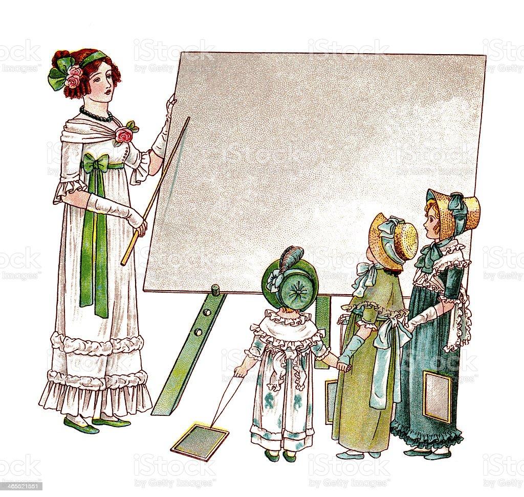 Regency era schoolmistress teaching children royalty-free regency era schoolmistress teaching children stock vector art & more images of 1890-1899