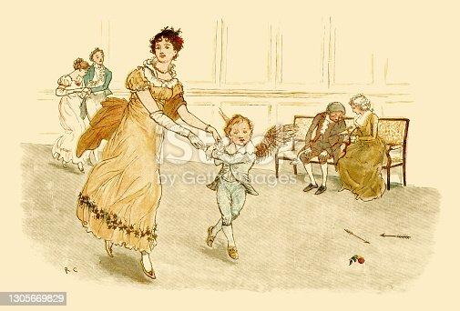 istock Regency era young woman dancing with Cupid 1305669829
