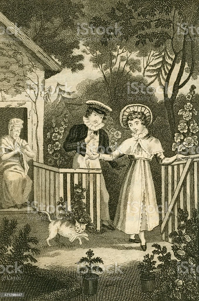 Regency people in a garden (c1830 illustration) royalty-free stock vector art