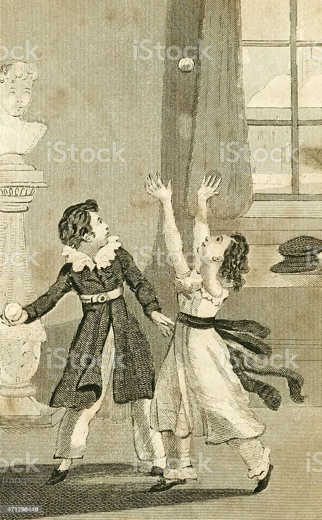 Regency period children playing ball indoors royalty-free stock vector art