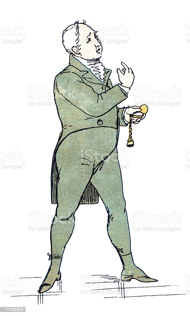 Regency style man looking at the time and beckoning royalty-free stock vector art