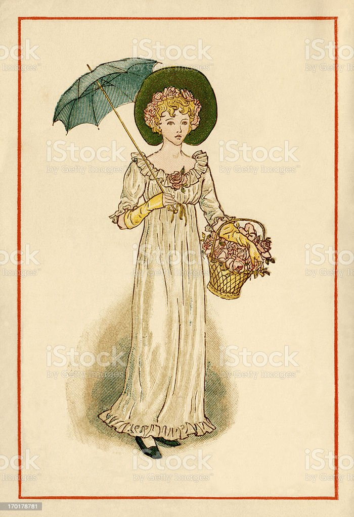 Regency-style young woman - Kate Greenaway, 1884 vector art illustration