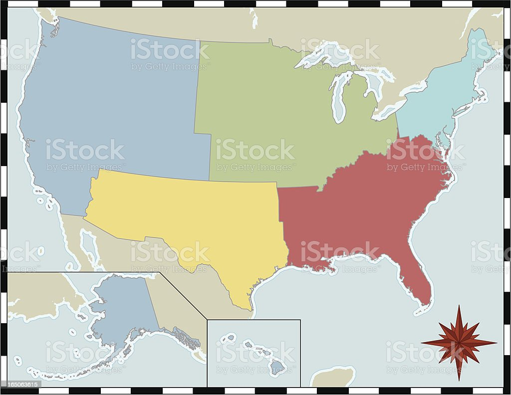 Regional Map Of The United States Stock Vector Art & More Images of ...