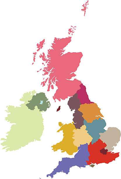 UK regions  uk map stock illustrations