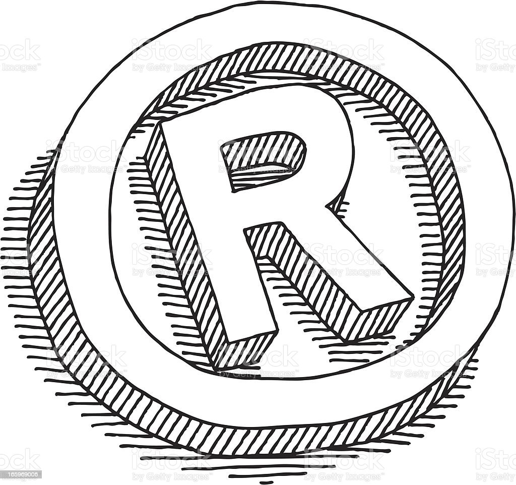 Registered Symbol Drawing royalty-free stock vector art