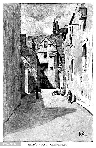 Reid's Close, Canongate -  Scanned 1890 Engraving