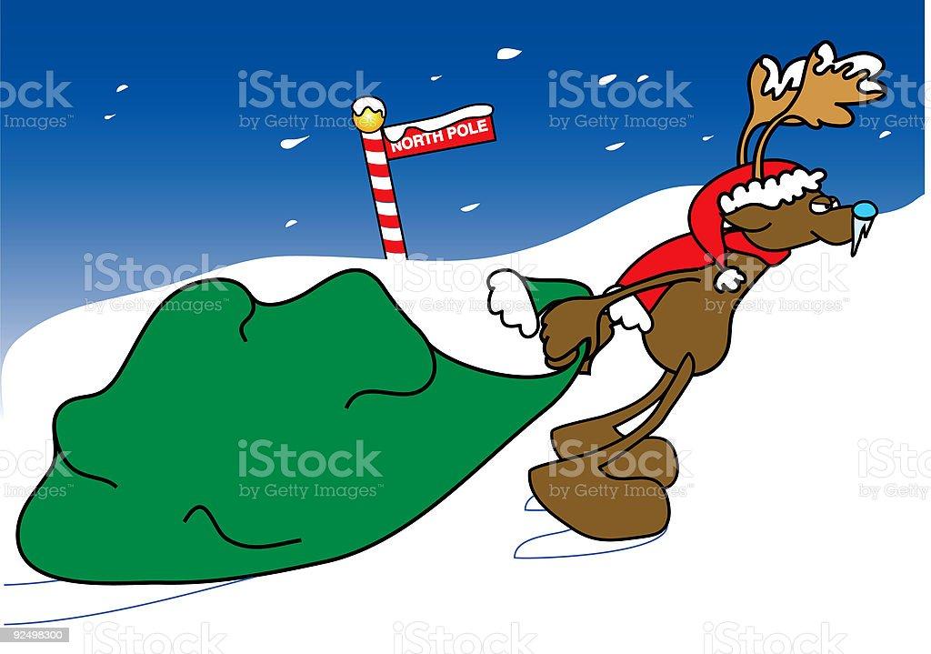 reindeer Dragging a  Sack vector art illustration