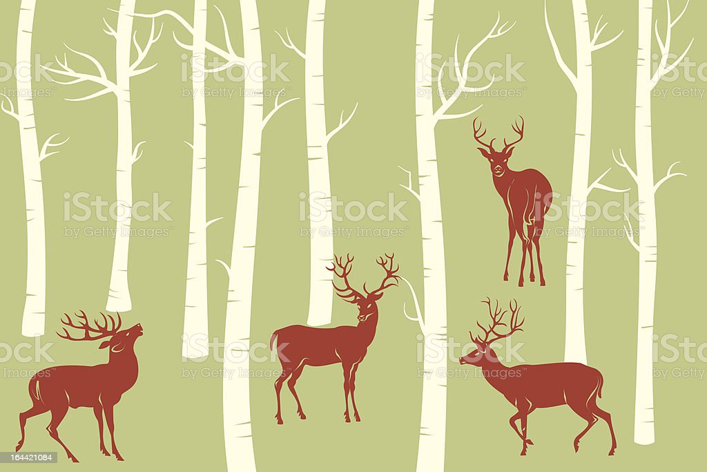 Reindeers vector art illustration