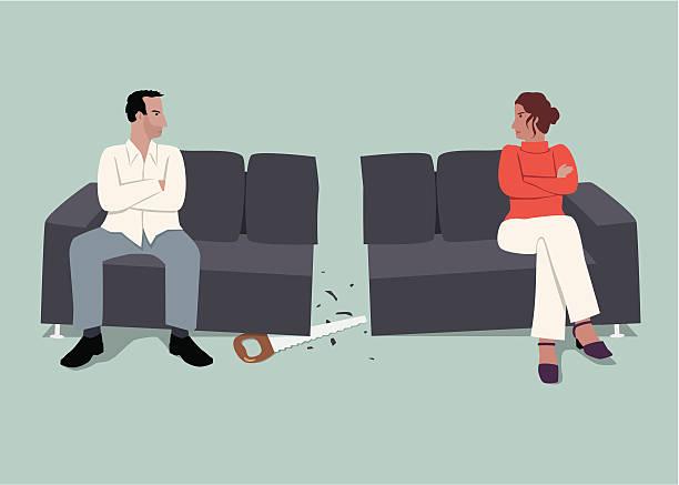 illustrazioni stock, clip art, cartoni animati e icone di tendenza di i rapporti - divorzio