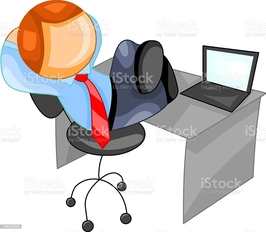 relaxed businessman with laptop computer royalty-free stock vector art