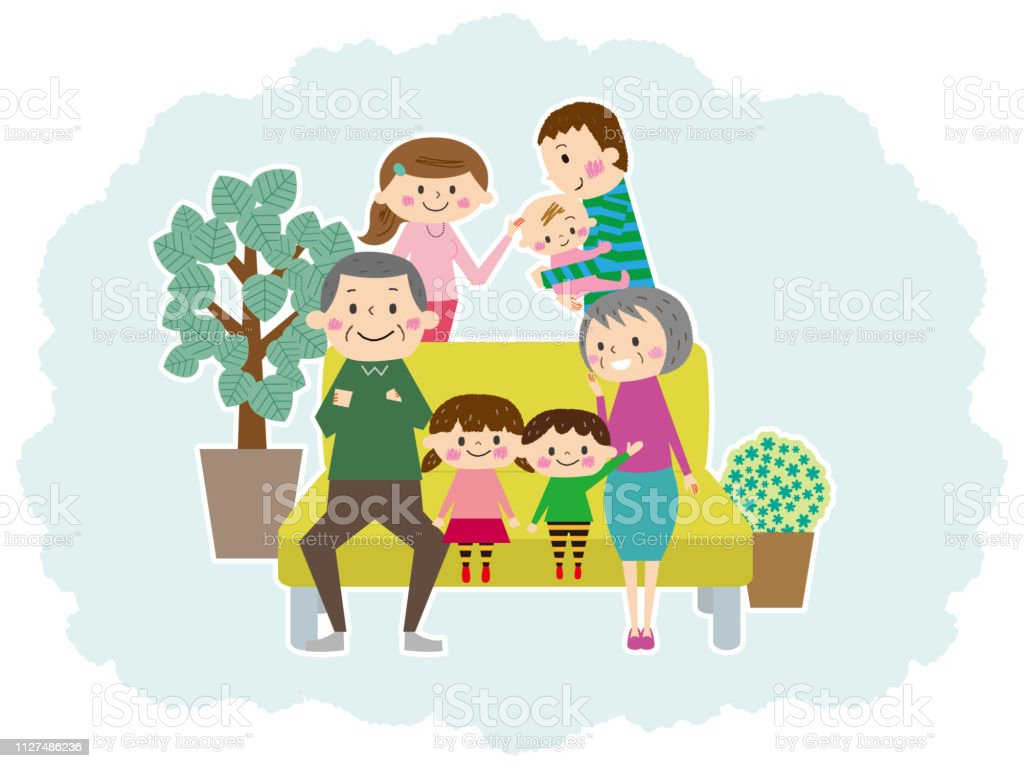 Relaxing On The Sofa Friends Three Generations Family Stock Vector
