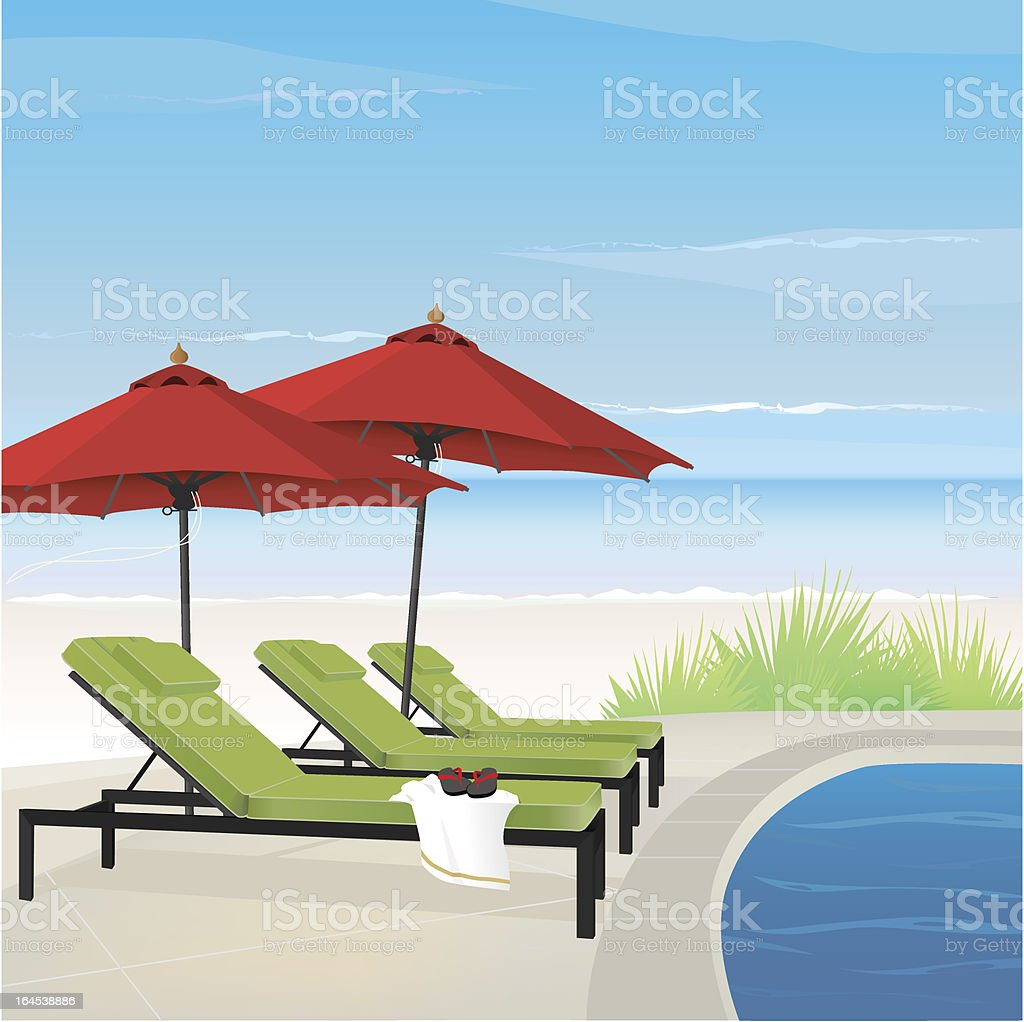 Relaxing Resort on Beach royalty-free stock vector art