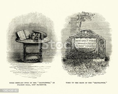 Vintage engraving of Relics of the Mayflower, Bible and Tomb of the Mate.