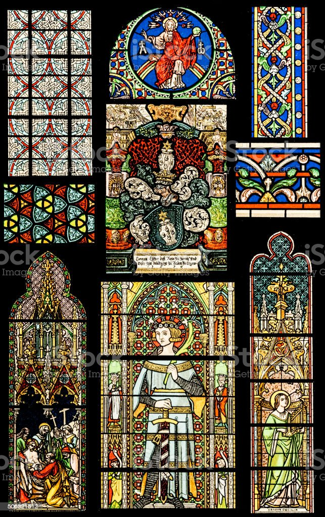 Religion motives on Stained Glass vector art illustration