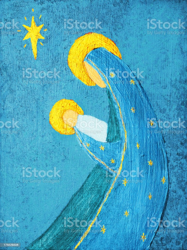 Religious: Abstract Christmas Nativity blue and yellow Art Painting royalty-free stock vector art