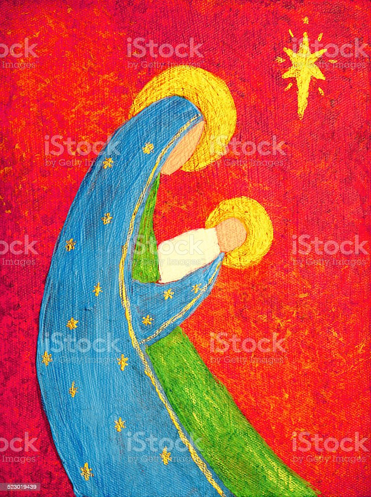 Religious Abstract Christmas Nativity With Madonna And Jesus Art
