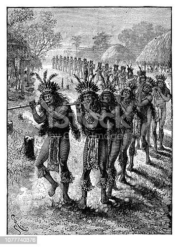 Religious Dance of the Pueblos - Scanned 1890 Engraving
