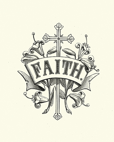 Vintage illustration of Religious design element, cross, faith, 19th Century