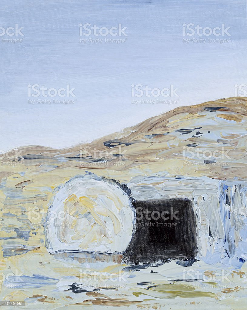 Religious: Easter Empty Tomb with rock rolled away Art Painting vector art illustration