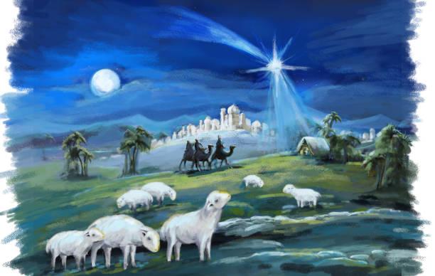 宗教插圖三國王和神聖的家庭 - 宗教 幅插畫檔、美工圖案、卡通及圖標