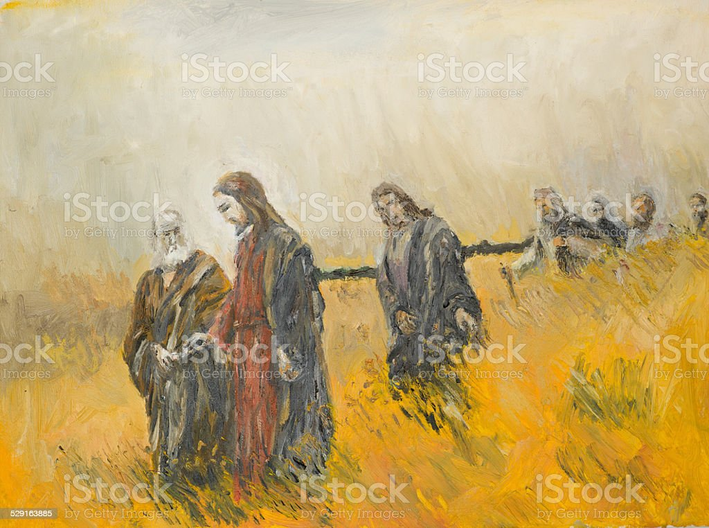 religious scene, Christ and his disciples vector art illustration