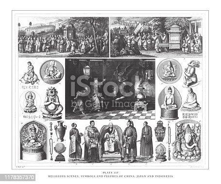 Religious Scenes, Symbols and Figures of China, Japan and Indonesia Engraving Antique Illustration, Published 1851. Source: Original edition from my own archives. Copyright has expired on this artwork. Digitally restored.