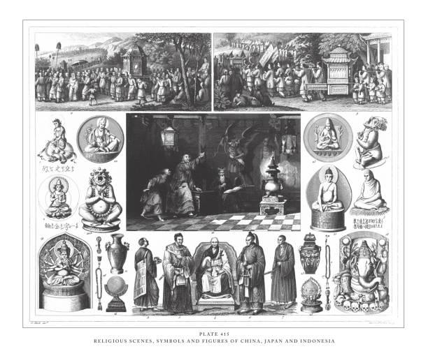 stockillustraties, clipart, cartoons en iconen met religieuze scènes, symbolen en figuren van china, japan en indonesië gravure van antieke illustratie, gepubliceerd 1851 - indonesische cultuur