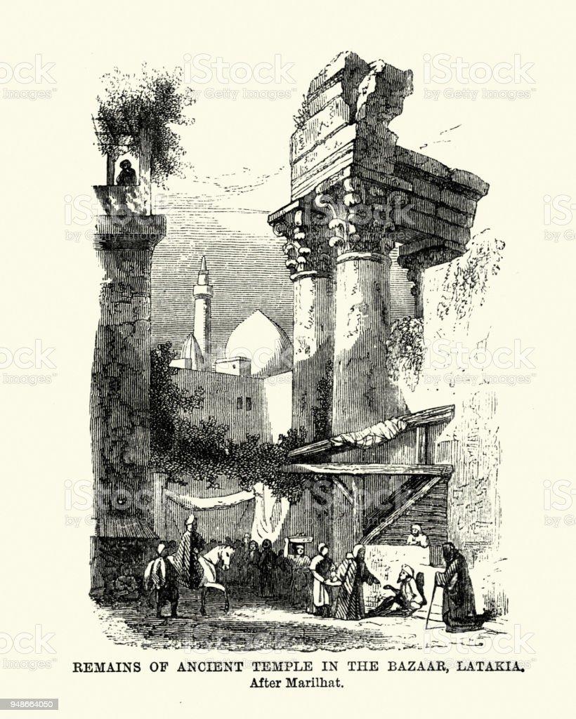 Remains of Ancient Temple, Latakia, Syria 19th Century vector art illustration