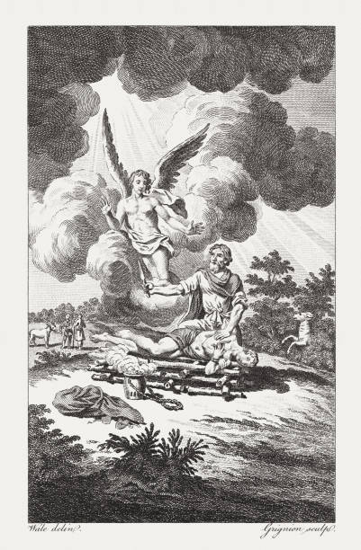 Remarkable Display of Abraham's Faith (Genesis 22), published in 1774 Remarkable Display of Abraham's Faith (Genesis 22). Copper engraving after a drawing by Samuel Wale (English painter, 1721? - 1786), published in 1774. Abraham stock illustrations