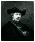 Engraving From 1834 Featuring The Dutch Painter, Rembrandt Harmenszoon van Rijn.  Rembrandt Lived From 1606 Until 1669.