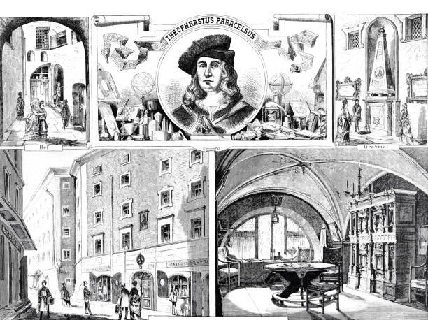 bildbanksillustrationer, clip art samt tecknat material och ikoner med påminnelser om theophrastus paracelsus i salzburg - salzburg