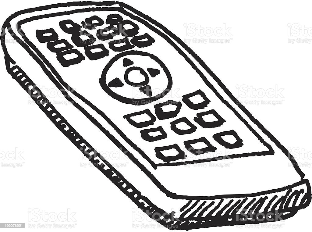tv remote clipart black and white. remote control sketch royalty-free stock vector art tv clipart black and white k