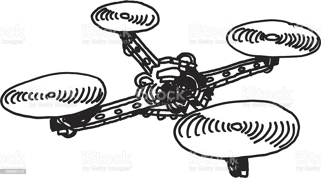 Remote Controlled Quadcopter Drawing vector art illustration